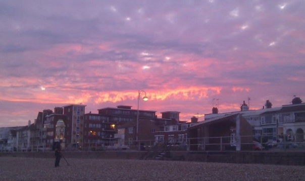 Bexhill from the beach at dusk