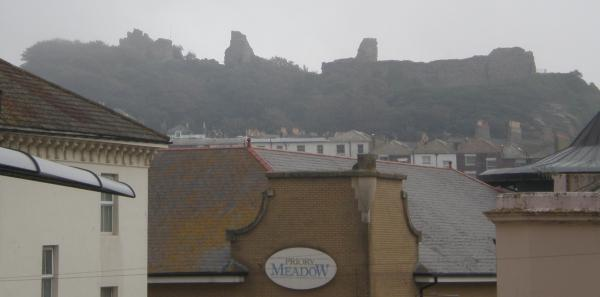 Hastings Castle almost engulfed in cloud