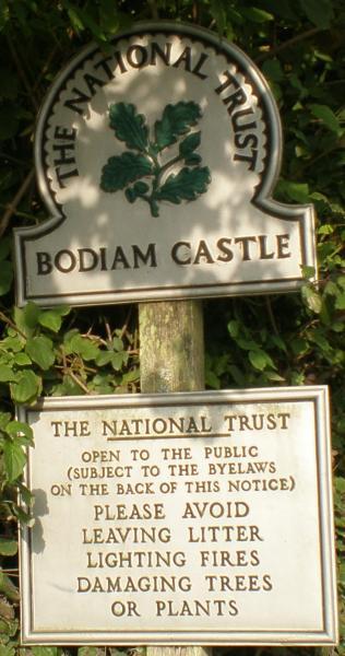 Bodiam's NT sign