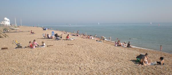 The beach was crowded with day trippers