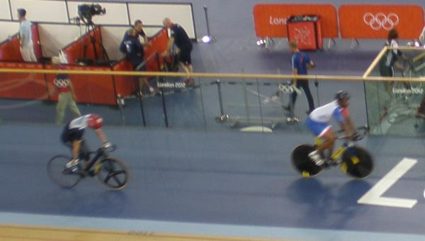 Kenny and Bauge finishing their warm ups for the 200m TT