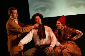 Charlie McCarthy, Paul Clarkson and Polly Lister in Upside Down and Back to Front (photo: Robert Day)
