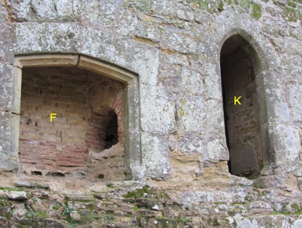 A close up of the lower fireplace