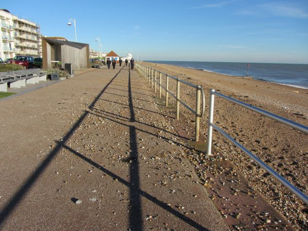 Shingle flung several inches on to the promenade